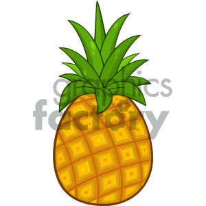 Royalty Free RF Clipart Illustration Pineapple Fruit With Green Leafs Cartoon Drawing Simple Design Vector Illustration Isolated On White Background clipart. Commercial use image # 404352