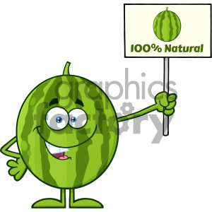 Green Watermelon Fresh Fruit Cartoon Mascot Character Presenting A 100 Percent Natural Sign clipart. Commercial use image # 404356