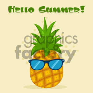 Royalty Free RF Clipart Illustration Pineapple Fruit With Green Leafs And Sunglasses Flat Simple Design Vector Illustration With Background And Text Hello Summer