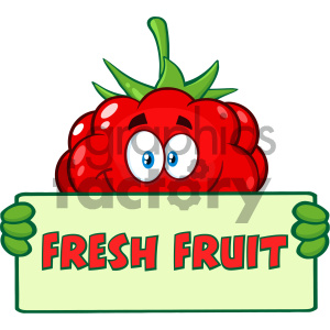 Royalty Free RF Clipart Illustration Smiling Raspberry Fruit Cartoon Mascot Character Holding A Banner With Text Fresh Fruit Vector Illustration Isolated On White Background clipart. Royalty-free image # 404382