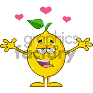 Royalty Free RF Clipart Illustration Happy Lemon Fresh Fruit With Green Leaf Cartoon Mascot Character With Hearts And With Open Arms For Hugging Vector Illustration Isolated On White Background clipart. Commercial use image # 404396