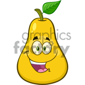 Royalty Free RF Clipart Illustration Happy Yellow Pear Fruit With Green Leaf Cartoon Mascot Character Vector Illustration Isolated On White Background clipart. Royalty-free image # 404419
