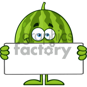 Royalty Free RF Clipart Illustration Smiling Green Watermelon Fruit Cartoon Mascot Character Holding A Blank Sign Vector Illustration Isolated On White Background clipart. Royalty-free image # 404420