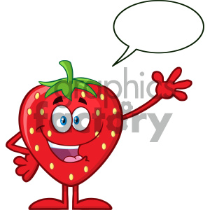 Royalty Free RF Clipart Illustration Happy Strawberry Fruit Cartoon Mascot Character Waving For Greeting With Speech Bubble Vector Illustration Isolated On White Background