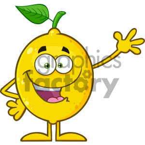Royalty Free RF Clipart Illustration Happy Yellow Lemon Fresh Fruit With Green Leaf Cartoon Mascot Character Waving For Greeting Vector Illustration Isolated On White Background