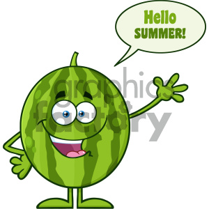 Royalty Free RF Clipart Illustration Happy Green Watermelon Fruit Cartoon Mascot Character Waving For Greeting With Speech Bubble And Text Hello Summer Vector Illustration Isolated On White Background clipart. Royalty-free image # 404436
