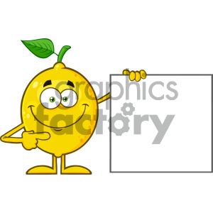 Royalty Free RF Clipart Illustration Smiling Yellow Lemon Fresh Fruit With Green Leaf Cartoon Mascot Character Pointing To A Blank Sign Vector Illustration Isolated On White Background