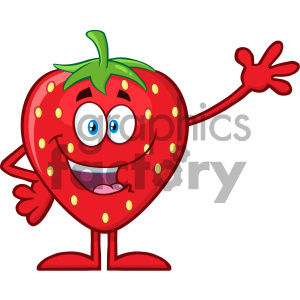 Royalty Free RF Clipart Illustration Happy Strawberry Fruit Cartoon Mascot Character Waving For Greeting Vector Illustration Isolated On White Background