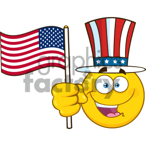 Royalty Free RF Clipart Illustration Happy Yellow Cartoon Emoji Face Character Wearing A Top Hat And Waving An American Flag Vector Illustration Isolated On White Background clipart. Royalty-free image # 404468