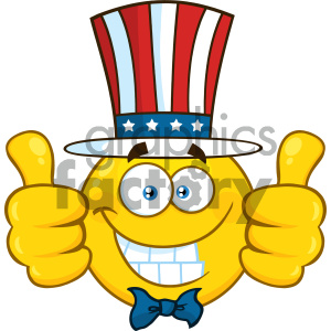 Smiling Patriotic Yellow Cartoon Emoji Face Character Wearing A USA Hat And Giving Two Thumbs Up clipart. Commercial use image # 404477