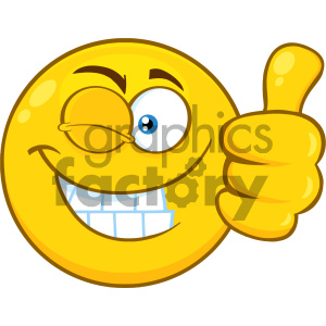 Royalty Free RF Clipart Illustration Smiling Yellow Cartoon Smiley Face Character With Wink Expression Giving A Thumb Up Vector Illustration Isolated On White Background clipart. Commercial use image # 404501