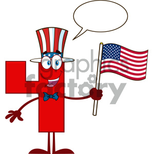 Patriotic Red Number Four Cartoon Mascot Character Wearing A USA Hat And Waving An American Flag With Speech Bubble clipart. Royalty-free image # 404514