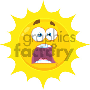 Royalty Free RF Clipart Illustration Scared Yellow Sun Cartoon Emoji Face Character With Expressions A Panic Vector Illustration Isolated On White Background clipart. Commercial use image # 404528