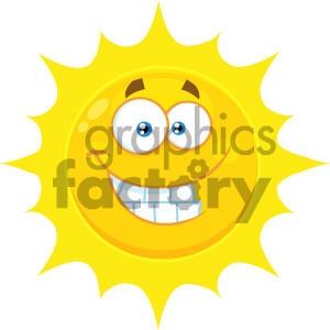 Royalty Free RF Clipart Illustration Funny Yellow Sun Cartoon Emoji Face Character With Smiling Expression Vector Illustration Isolated On White Background clipart. Royalty-free image # 404544
