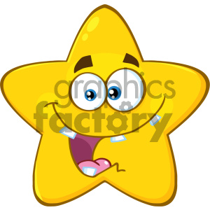 Royalty Free RF Clipart Illustration Crazy Yellow Star Cartoon Emoji Face Character With Expression Vector Illustration Isolated On White Background
