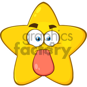 Royalty Free RF Clipart Illustration Funny Yellow Star Cartoon Emoji Face Character Stuck Out Tongue Vector Illustration Isolated On White Background clipart. Commercial use image # 404556