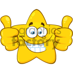 Royalty Free RF Clipart Illustration Smiling Yellow Star Cartoon Emoji Face Character Giving Two Thumbs Up Vector Illustration Isolated On White Background clipart. Commercial use image # 404562