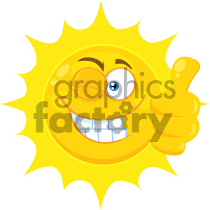 Royalty Free RF Clipart Illustration Smiling Yellow Sun Cartoon Emoji Face Character With Wink Expression Giving A Thumb Up Vector Illustration Isolated On White Background clipart. Royalty-free image # 404565