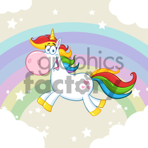 Clipart Illustration Cute Magic Unicorn Cartoon Mascot Character Running Around Rainbow With Clouds Vector Illustration With Background 1 clipart. Royalty-free image # 404567
