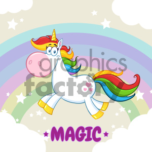 Clipart Illustration Smiling Magic Unicorn Cartoon Mascot Character Running Around Rainbow With Clouds Vector Illustration With Background And Text Magic