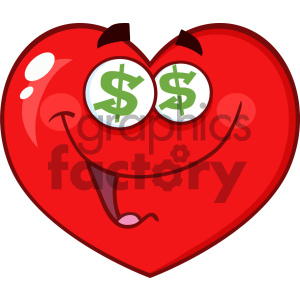 Happy Red Heart Cartoon Emoji Face Character With Dollar Sign Eyes Vector Illustration Isolated On White Background clipart. Commercial use image # 404601