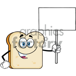 Smiling Bread Slice Cartoon Mascot Character Holding A Blank Sign Vector Illustration Isolated On White Background clipart. Royalty-free image # 404639