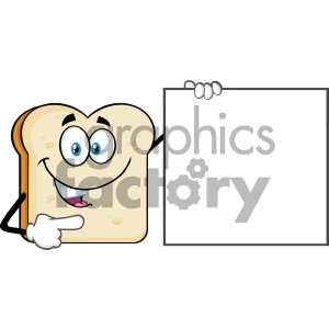 cartoon food mascot character vector bread slice sign blank+sign