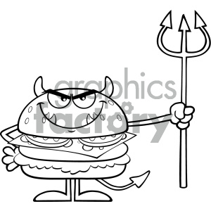 Black And White Angry Devil Burger Cartoon Character Holding A Trident Vector Illustration Isolated On White Background clipart. Commercial use image # 404659
