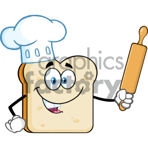 Baker Bread Slice Cartoon Mascot Character With Chef Hat Holding A Rolling Pin Vector Illustration Isolated On White Background clipart. Commercial use image # 404671