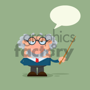 Professor Or Scientist Cartoon Character Holding A Pointer With Speech Bubble Vector Illustration Flat Design With Background clipart. Commercial use image # 404689