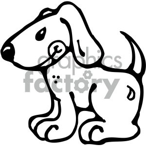 cartoon clipart dog 001 bw clipart. Royalty-free image # 404785