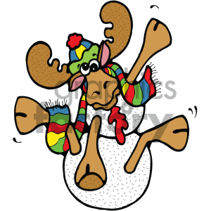 cartoon animals vector PR moose snowman