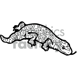 cartoon clipart reptiles 008 bw clipart. Royalty-free image # 404925