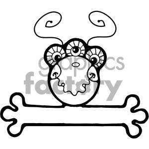 vector art monster 003 bw clipart. Commercial use image # 405061