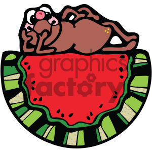 watermelon with frog cartoon clipart. Royalty-free image # 405094