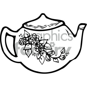 black+white cartoon teapot tea