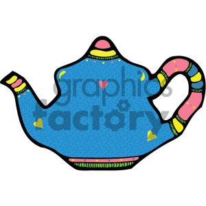 blue cartoon vector teapot clipart. Commercial use image # 405173