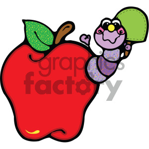 caterpillar coming out of an red apple image clipart. Commercial use image # 405253