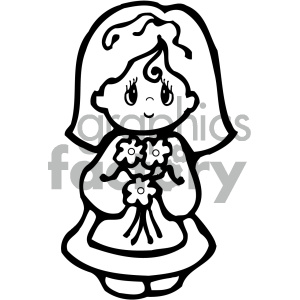black and white girl angel cartoon clipart. Royalty-free image # 405299