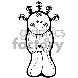 black and white vodoo doll cartoon clipart. Commercial use image # 405328
