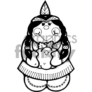 black and white indian girl art clipart. Royalty-free image # 405345
