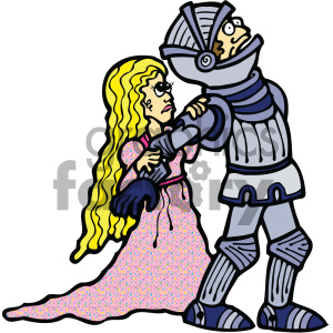 knight with princess cartoon art clipart. Commercial use image # 405348