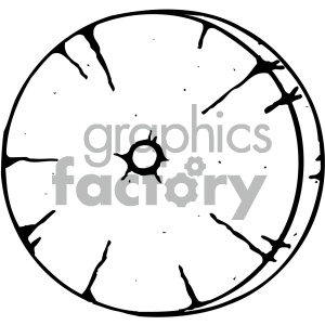 wooden wheel black white clipart. Commercial use image # 405438