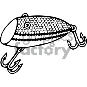 fishing lure 002 black white clipart. Commercial use image # 405440