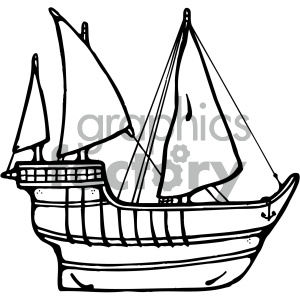 black white ship clipart. Commercial use image # 405468