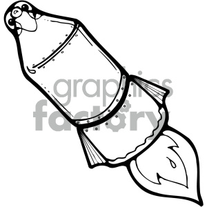 black and white rocket art clipart. Commercial use image # 405469