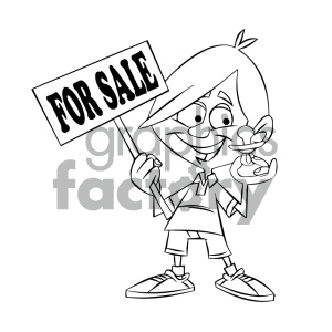 black and white cartoon kid holding a baby binky for sale clipart. Commercial use image # 405568