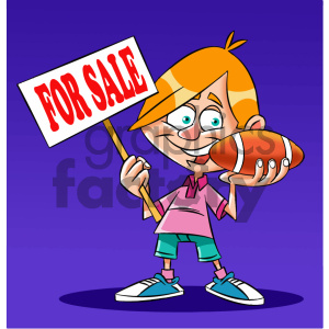 cartoon kid holding a football clipart. Commercial use image # 405594