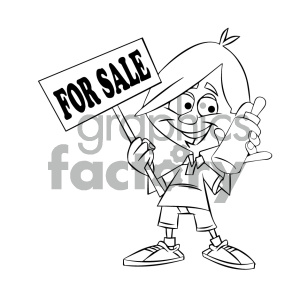 black and white cartoon kid holding a baby bottle for sale clipart. Commercial use image # 405620