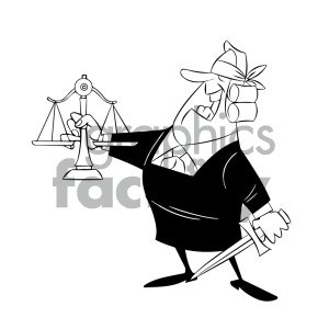 black and white cartoon supreme court justice holding scale of justice clipart. Commercial use image # 405624